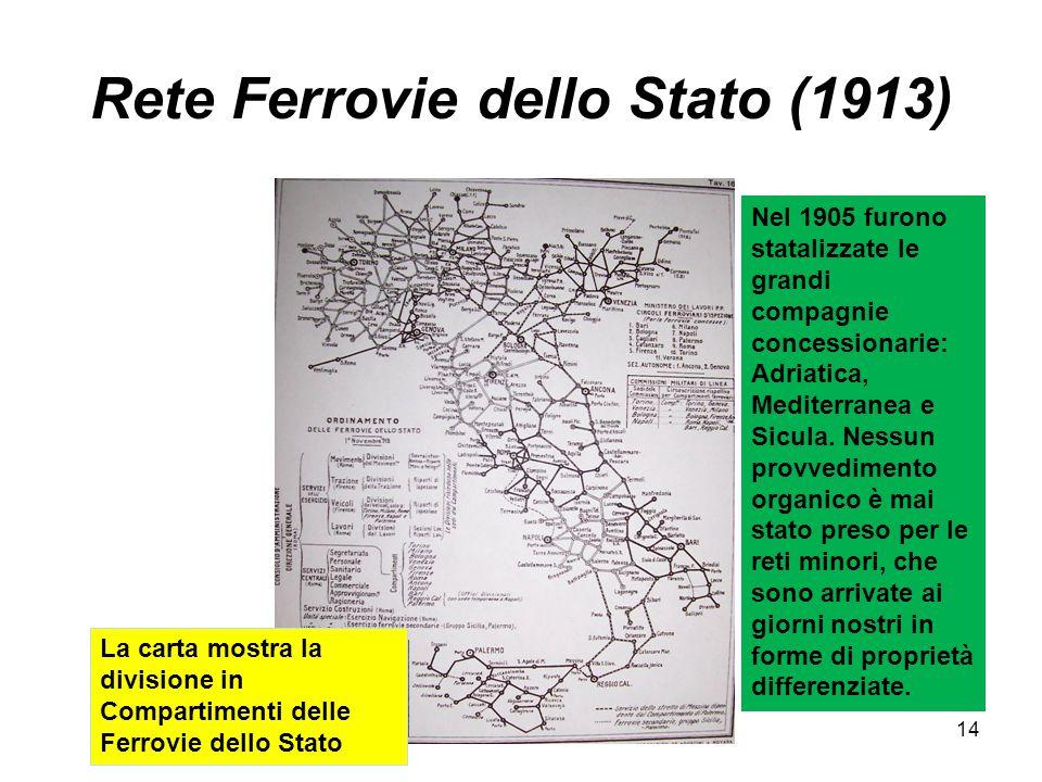 Rete Ferrovie dello Stato (1913) La carta mostra la divisione in Compartimenti delle Ferrovie dello Stato Nel 1905 furono statalizzate le grandi compagnie concessionarie: Adriatica, Mediterranea e Sicula.