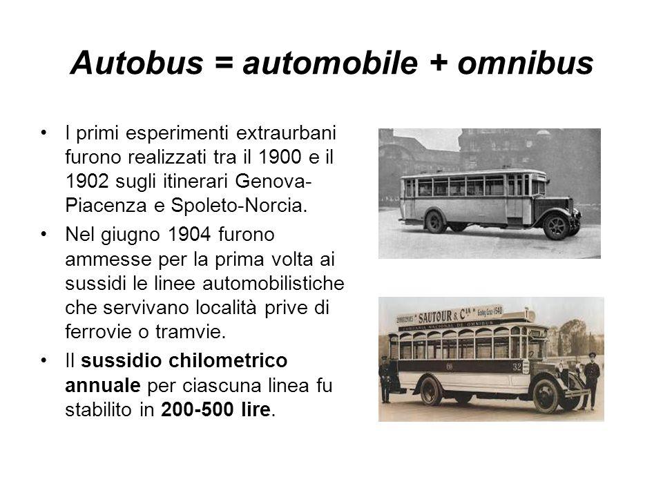 Autobus = automobile + omnibus I primi esperimenti extraurbani furono realizzati tra il 1900 e il 1902 sugli itinerari Genova- Piacenza e Spoleto-Norc