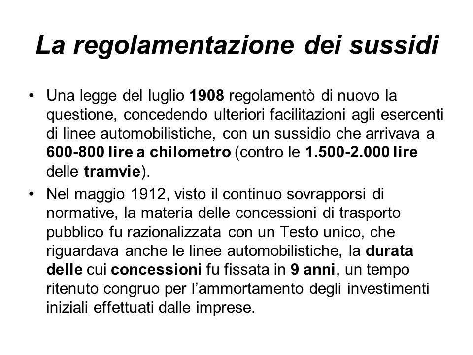 La regolamentazione dei sussidi Una legge del luglio 1908 regolamentò di nuovo la questione, concedendo ulteriori facilitazioni agli esercenti di line