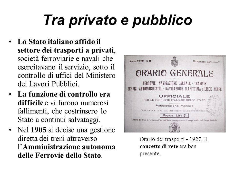 Tra privato e pubblico Lo Stato italiano affidò il settore dei trasporti a privati, società ferroviarie e navali che esercitavano il servizio, sotto il controllo di uffici del Ministero dei Lavori Pubblici.