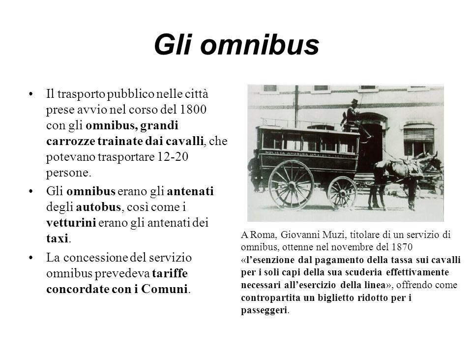 Gli omnibus Il trasporto pubblico nelle città prese avvio nel corso del 1800 con gli omnibus, grandi carrozze trainate dai cavalli, che potevano trasp
