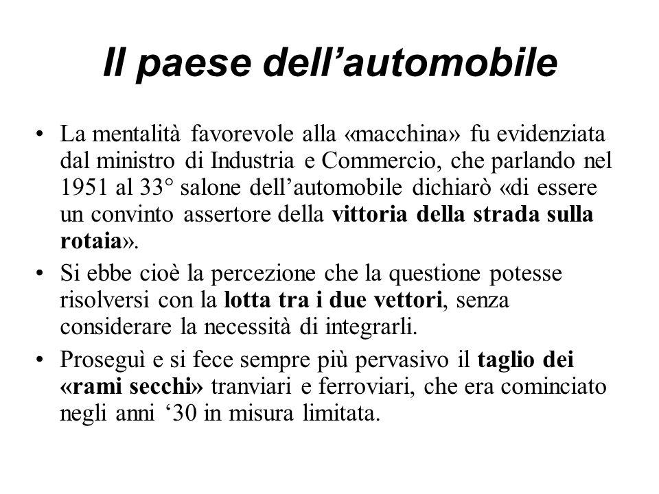 Il paese dell'automobile La mentalità favorevole alla «macchina» fu evidenziata dal ministro di Industria e Commercio, che parlando nel 1951 al 33° salone dell'automobile dichiarò «di essere un convinto assertore della vittoria della strada sulla rotaia».