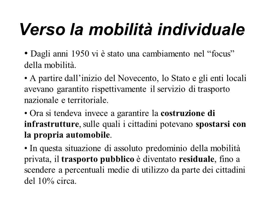 """Verso la mobilità individuale Dagli anni 1950 vi è stato una cambiamento nel """"focus"""" della mobilità. A partire dall'inizio del Novecento, lo Stato e g"""