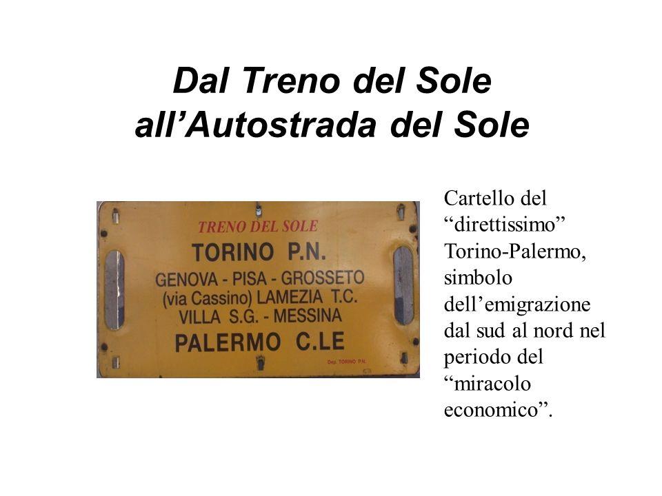 Dal Treno del Sole all'Autostrada del Sole Cartello del direttissimo Torino-Palermo, simbolo dell'emigrazione dal sud al nord nel periodo del miracolo economico .