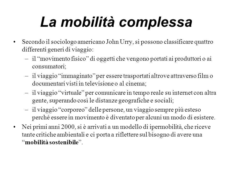 """La mobilità complessa Secondo il sociologo americano John Urry, si possono classificare quattro differenti generi di viaggio: –il """"movimento fisico"""" d"""