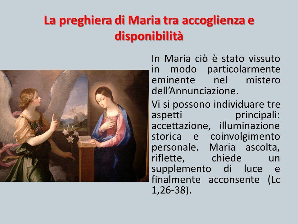 La preghiera di Maria tra accoglienza e disponibilità In Maria ciò è stato vissuto in modo particolarmente eminente nel mistero dell'Annunciazione. Vi