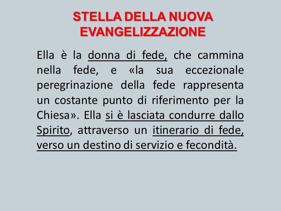 STELLA DELLA NUOVA EVANGELIZZAZIONE Ella è la donna di fede, che cammina nella fede, e «la sua eccezionale peregrinazione della fede rappresenta un co