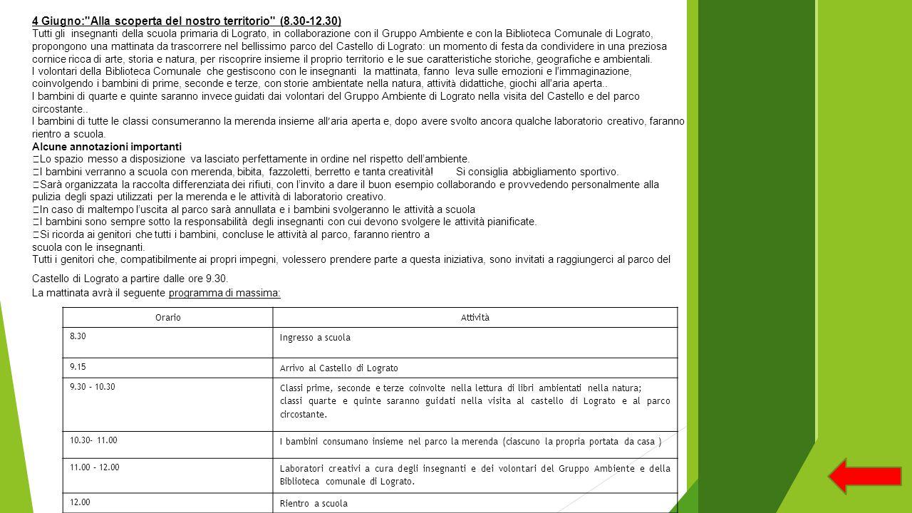 OrarioAttività 8.30 Ingresso a scuola 9.15 Arrivo al Castello di Lograto 9.30 – 10.30 Classi prime, seconde e terze coinvolte nella lettura di libri a