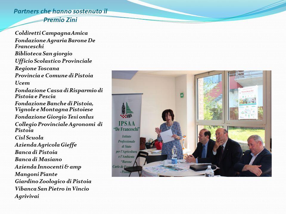 Partners che hanno sostenuto il Premio Zini Coldiretti Campagna Amica Fondazione Agraria Barone De Franceschi Biblioteca San giorgio Ufficio Scolastic