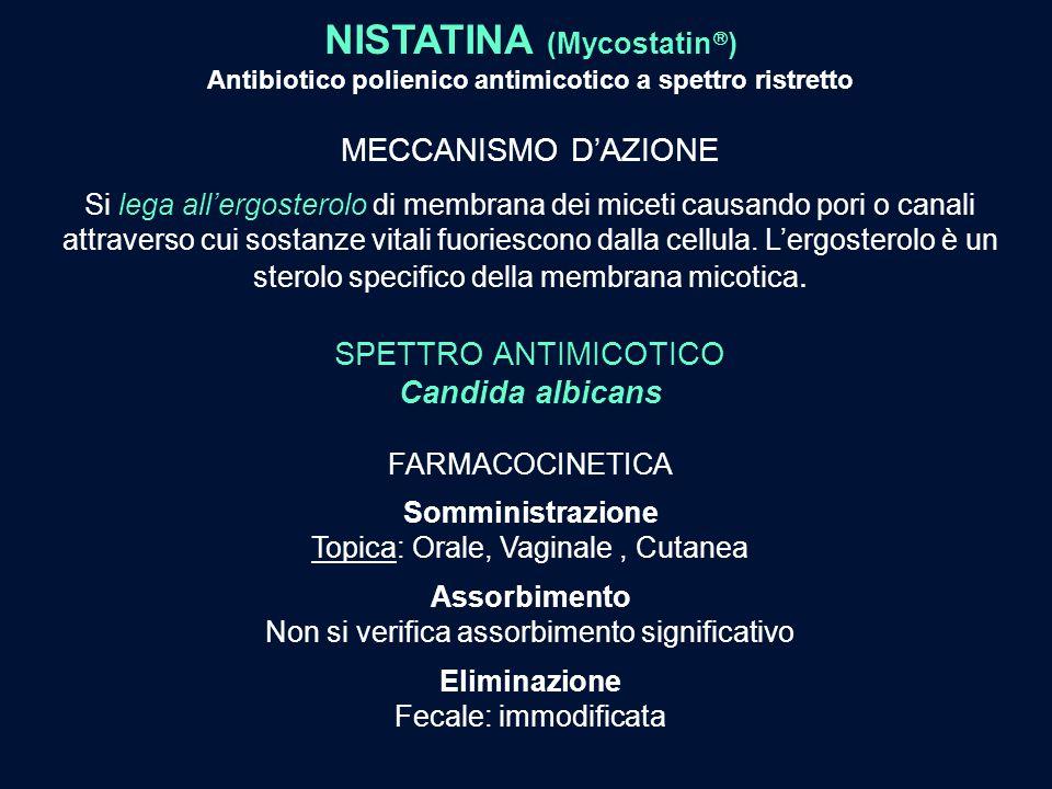 NISTATINA (Mycostatin  ) Antibiotico polienico antimicotico a spettro ristretto MECCANISMO D'AZIONE Si lega all'ergosterolo di membrana dei miceti ca
