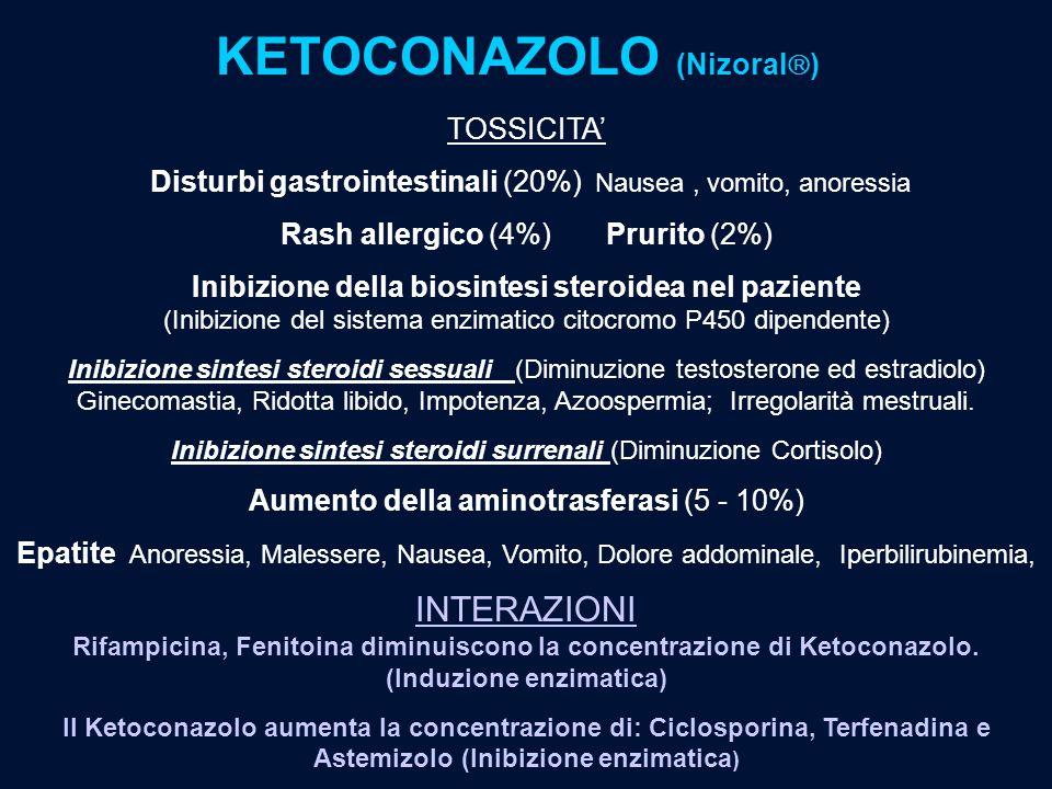KETOCONAZOLO (Nizoral  ) TOSSICITA' Disturbi gastrointestinali (20%) Nausea, vomito, anoressia Rash allergico (4%) Prurito (2%) Inibizione della bios