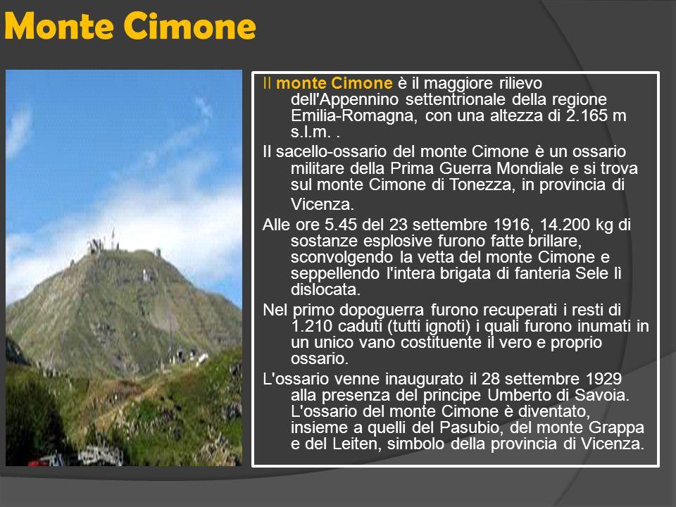 Monte Cimone Il monte Cimone è il maggiore rilievo dell'Appennino settentrionale della regione Emilia-Romagna, con una altezza di 2.165 m s.l.m.. Il s