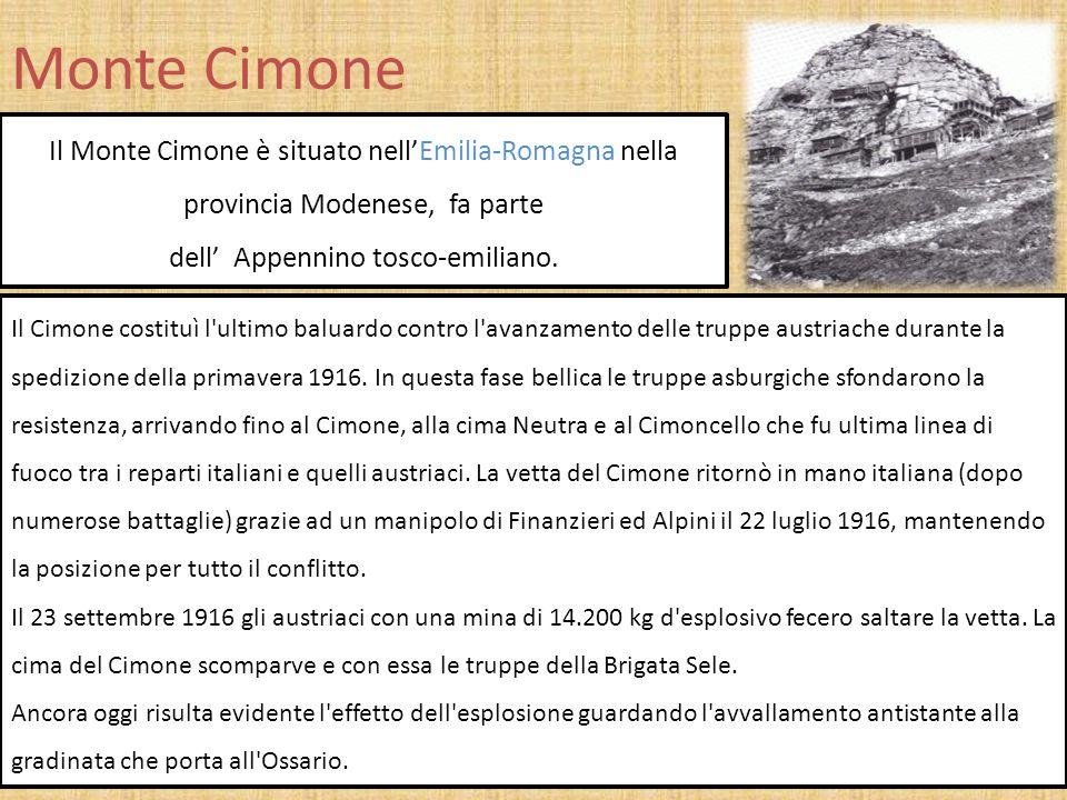 Monte Cimone Il Monte Cimone è situato nell'Emilia-Romagna nella provincia Modenese, fa parte dell' Appennino tosco-emiliano. Il Cimone costituì l'ult