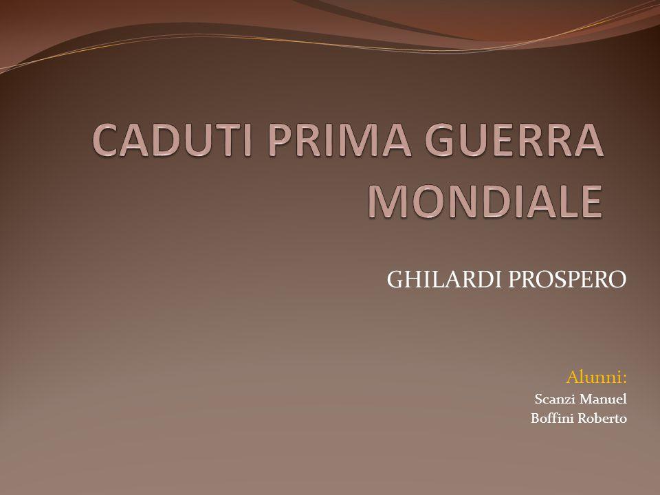 GHILARDI PROSPERO Alunni: Scanzi Manuel Boffini Roberto