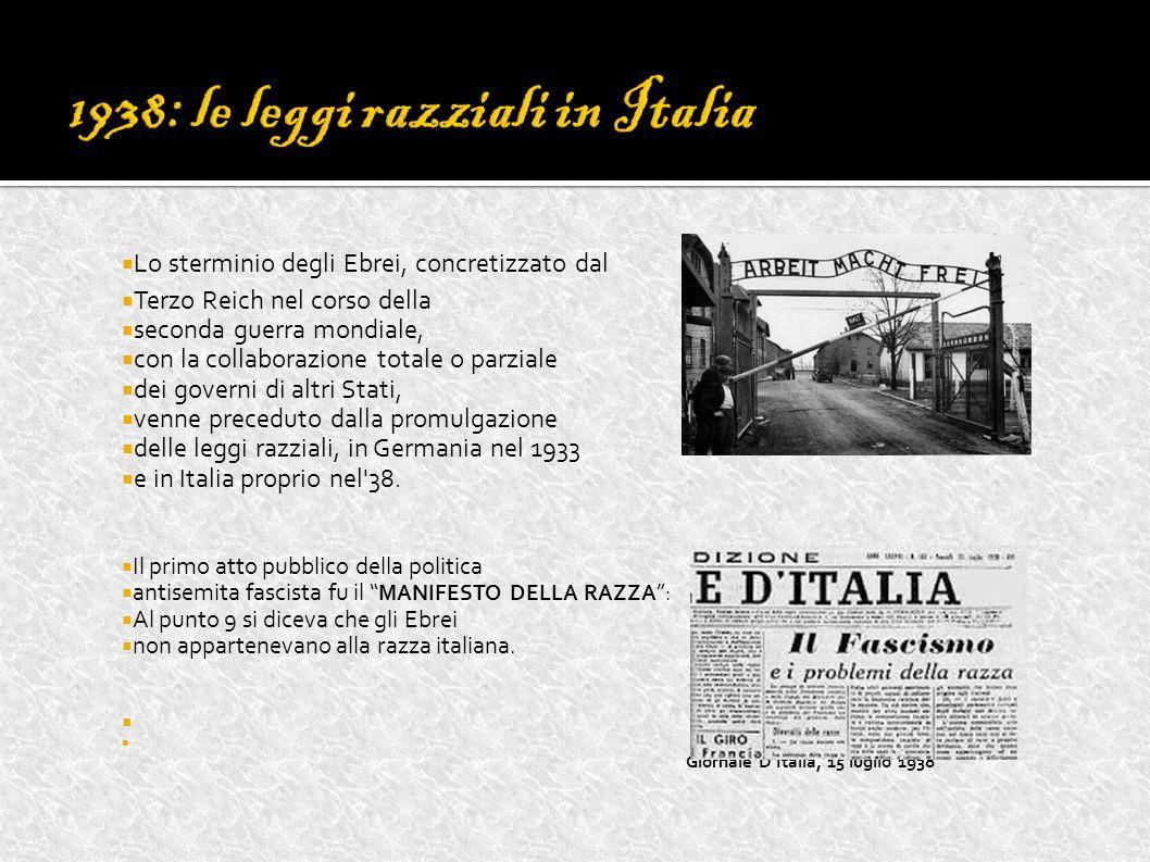  Lo sterminio degli Ebrei, concretizzato dal  Terzo Reich nel corso della  seconda guerra mondiale,  con la collaborazione totale o parziale  dei governi di altri Stati,  venne preceduto dalla promulgazione  delle leggi razziali, in Germania nel 1933  e in Italia proprio nel 38.