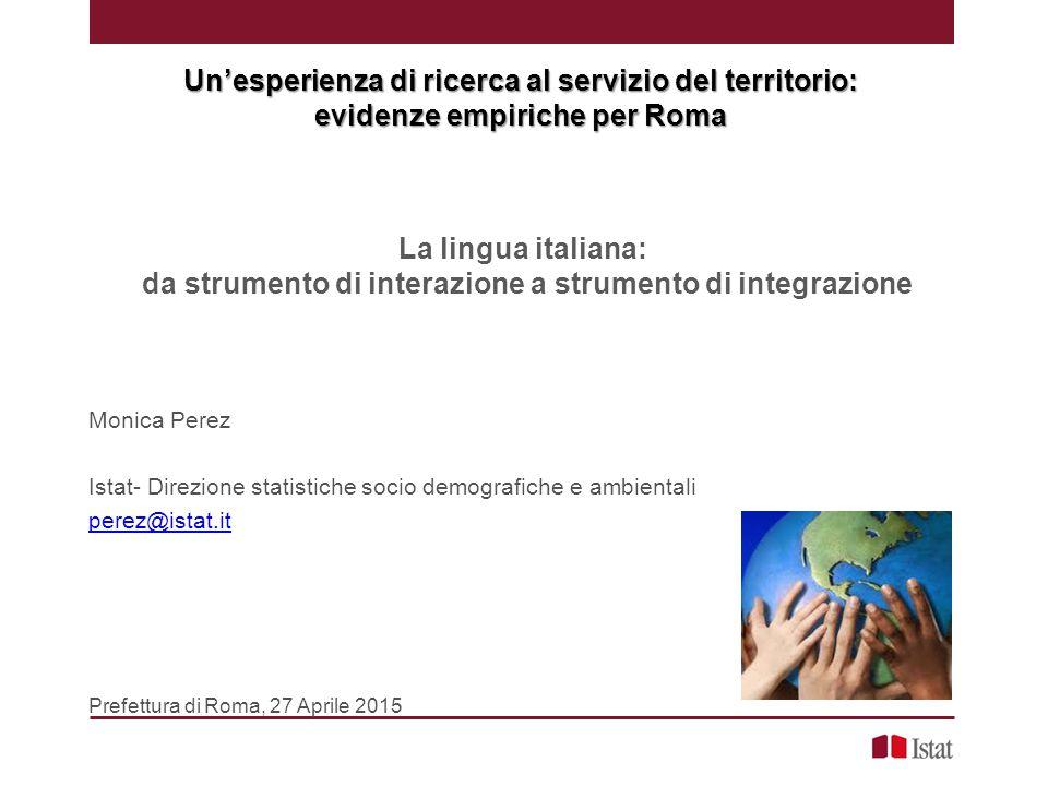 Background migratorio … altri fattori «facilitatori» per la conoscenza della lingua italiana : Avere almeno un diploma di scuola superiore Il conseguimento titolo di studio in Italia anziché all'estero l'87,4% dei cittadini stranieri che vivono a Roma e ha conseguito un titolo di studio in Italia dichiara di non avere difficoltà con la lingua italiana, rispetto al 36,2% di quanti l'hanno conseguito all'estero (in Italia il rapporto è il 79,2% contro il 31,4%) L'anzianità migratoria: più è elevata più diminuiscono le difficoltà linguistiche A Roma il 46,9% di chi è in Italia da almeno 10 anni dichiara di non avere difficoltà con la lingua italiana (in Italia è il 41,4%) rispetto al 25% di chi è in Italia da meno di 5 anni (in Italia è il 21,4%) Essere donna e essere giovani