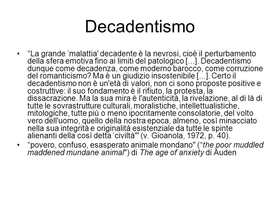 """Decadentismo """" La grande 'malattia' decadente è la nevrosi, cioè il perturbamento della sfera emotiva fino ai limiti del patologico [...]. Decadentism"""