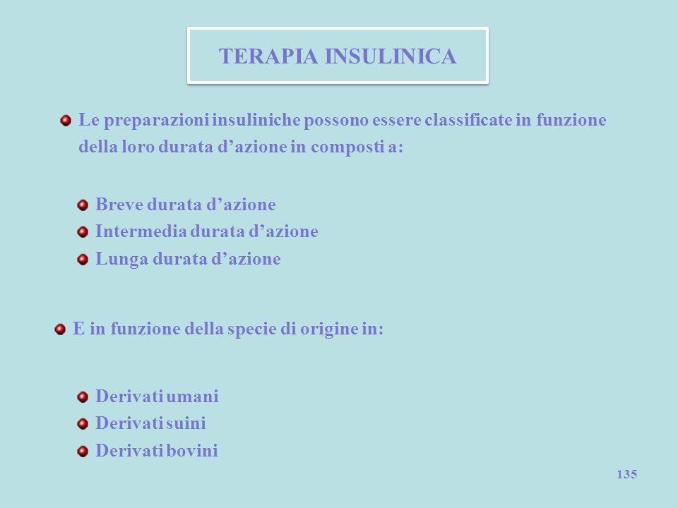 135 TERAPIA INSULINICA Le preparazioni insuliniche possono essere classificate in funzione della loro durata d'azione in composti a: Breve durata d'az