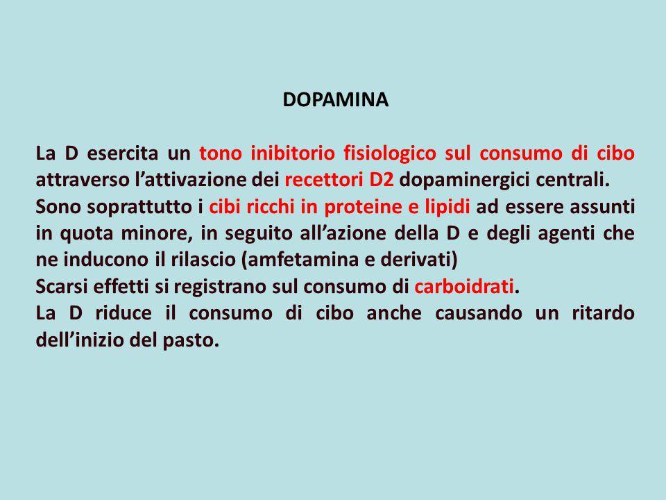 DOPAMINA La D esercita un tono inibitorio fisiologico sul consumo di cibo attraverso l'attivazione dei recettori D2 dopaminergici centrali. Sono sopra