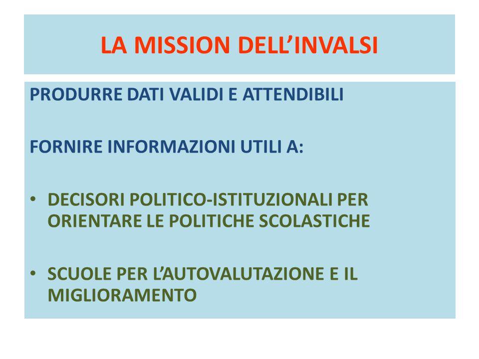 LA MISSION DELL'INVALSI PRODURRE DATI VALIDI E ATTENDIBILI FORNIRE INFORMAZIONI UTILI A: DECISORI POLITICO-ISTITUZIONALI PER ORIENTARE LE POLITICHE SC