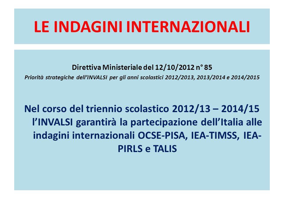 LE INDAGINI INTERNAZIONALI Direttiva Ministeriale del 12/10/2012 n° 85 Priorità strategiche dell'INVALSI per gli anni scolastici 2012/2013, 2013/2014