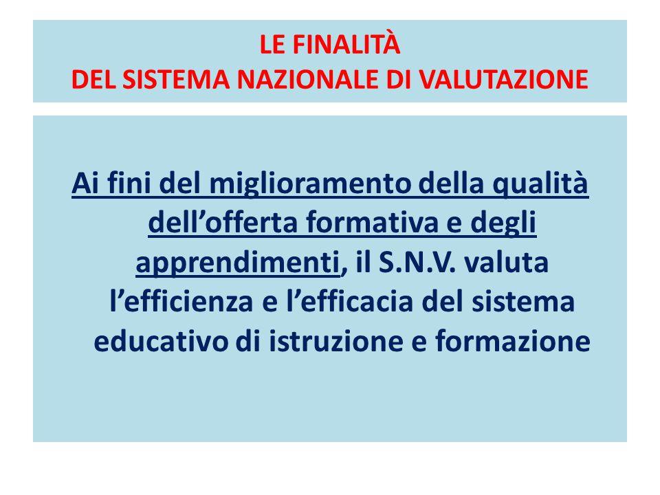 LE FINALITÀ DEL SISTEMA NAZIONALE DI VALUTAZIONE Ai fini del miglioramento della qualità dell'offerta formativa e degli apprendimenti, il S.N.V. valut
