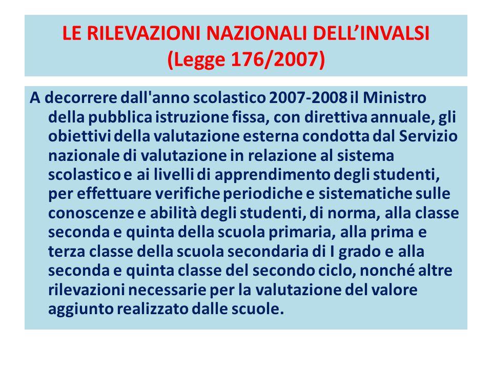 LE RILEVAZIONI NAZIONALI DELL'INVALSI (Legge 176/2007) A decorrere dall'anno scolastico 2007-2008 il Ministro della pubblica istruzione fissa, con dir