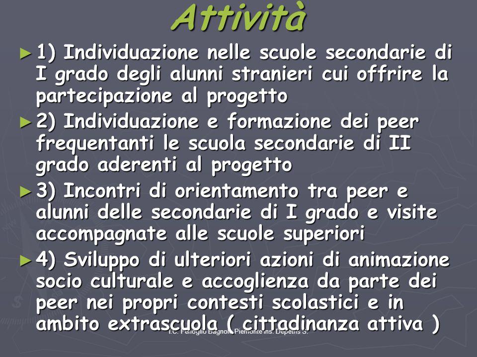 I.C. Fenoglio Bagnolo Piemonte ins. Depetris S. Attività ► 1) Individuazione nelle scuole secondarie di I grado degli alunni stranieri cui offrire la