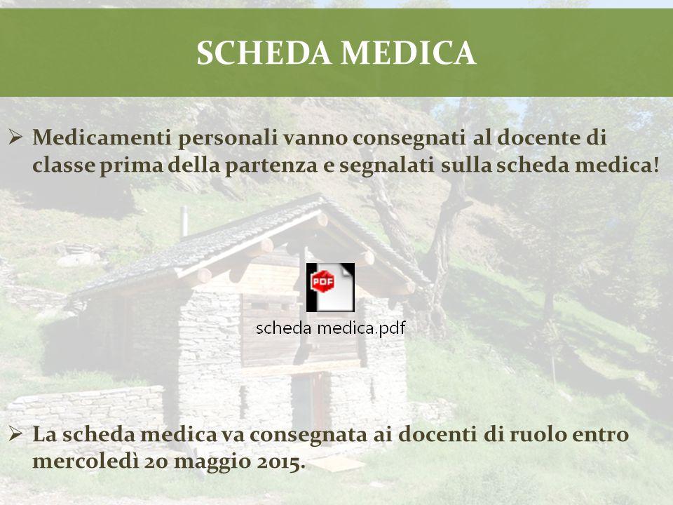 SCHEDA MEDICA  Medicamenti personali vanno consegnati al docente di classe prima della partenza e segnalati sulla scheda medica.