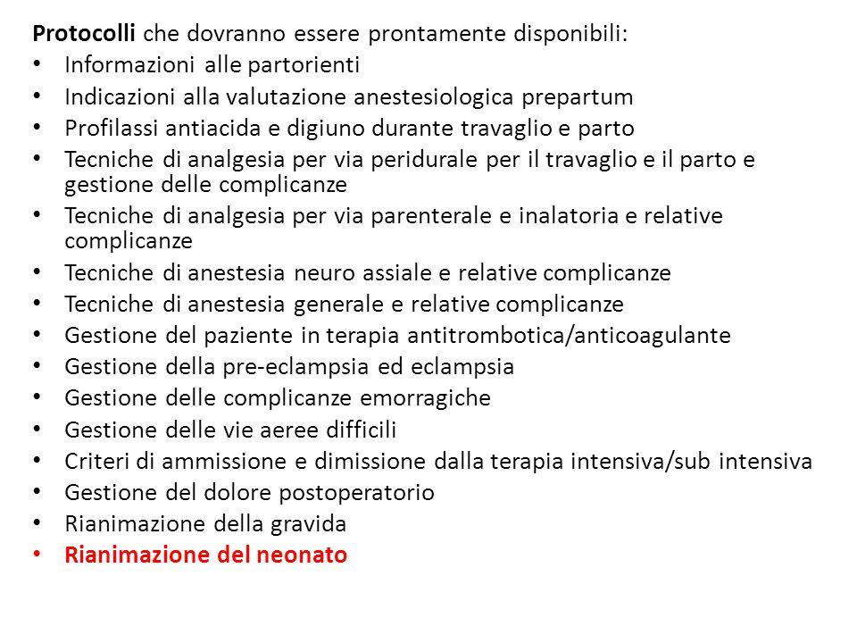 Protocolli che dovranno essere prontamente disponibili: Informazioni alle partorienti Indicazioni alla valutazione anestesiologica prepartum Profilass