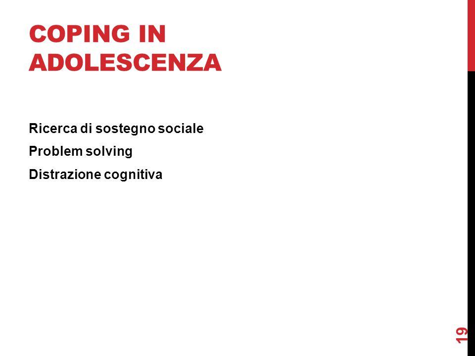 COPING IN ADOLESCENZA Ricerca di sostegno sociale Problem solving Distrazione cognitiva 19