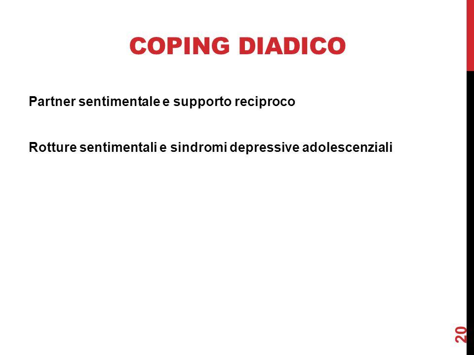 COPING DIADICO Partner sentimentale e supporto reciproco Rotture sentimentali e sindromi depressive adolescenziali 20