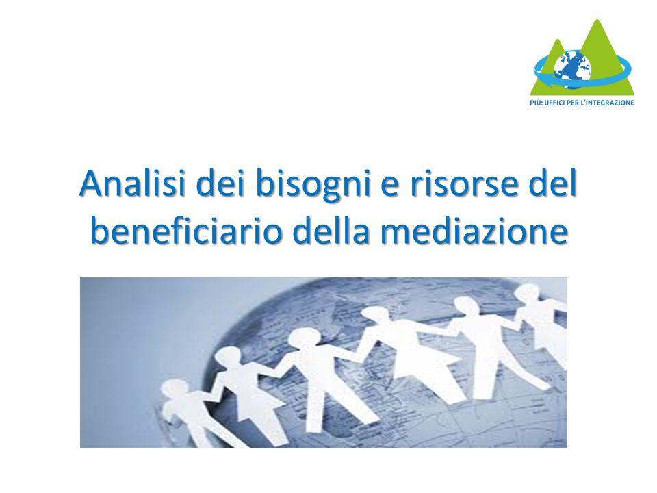 Analisi dei bisogni e risorse del beneficiario della mediazione