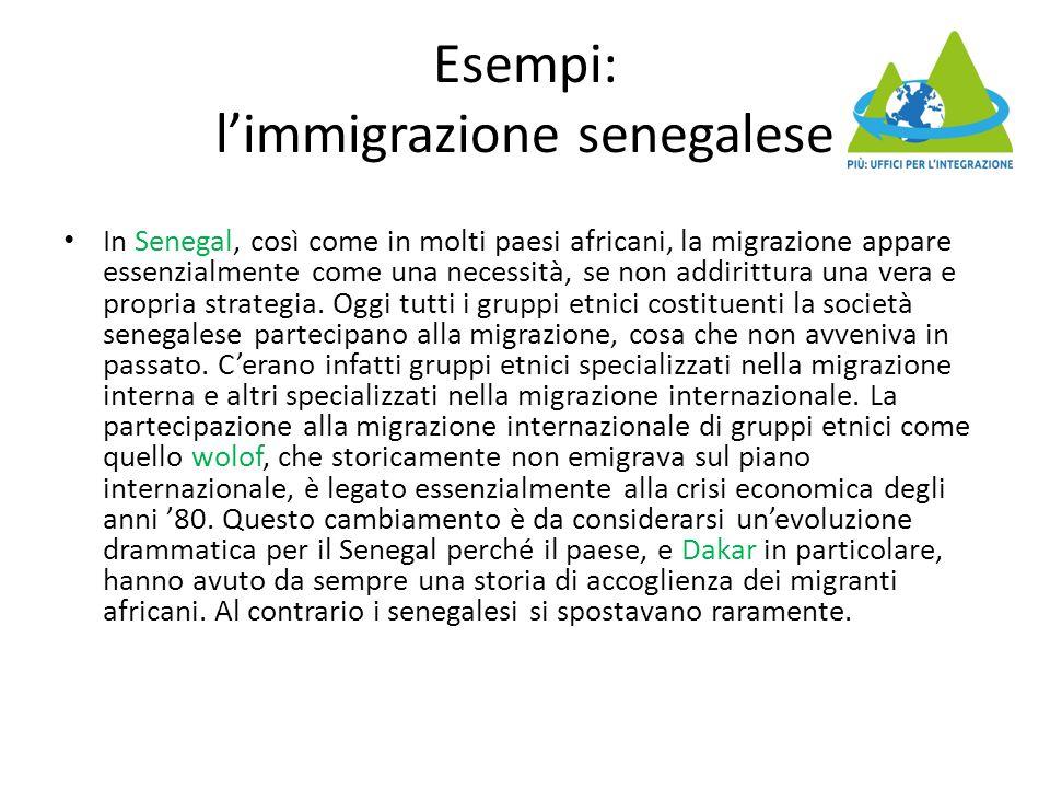 Esempi: l'immigrazione senegalese In Senegal, così come in molti paesi africani, la migrazione appare essenzialmente come una necessità, se non addirittura una vera e propria strategia.
