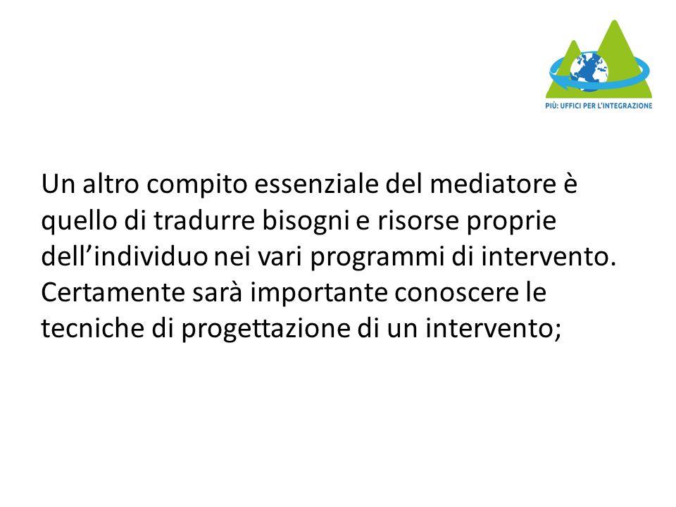Un altro compito essenziale del mediatore è quello di tradurre bisogni e risorse proprie dell'individuo nei vari programmi di intervento. Certamente s