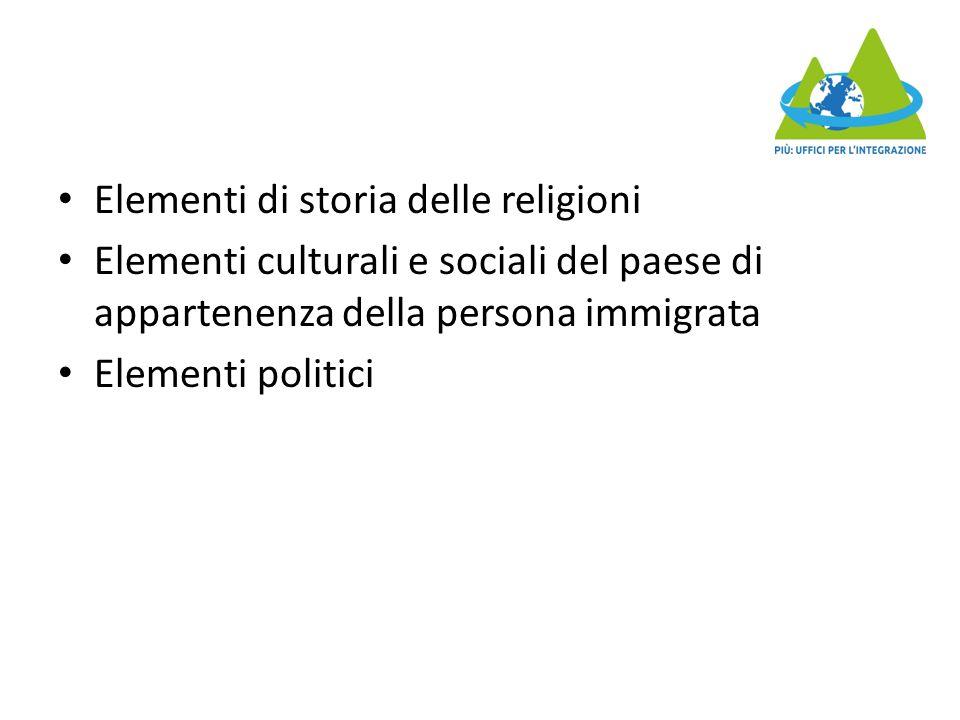 Elementi di storia delle religioni Elementi culturali e sociali del paese di appartenenza della persona immigrata Elementi politici