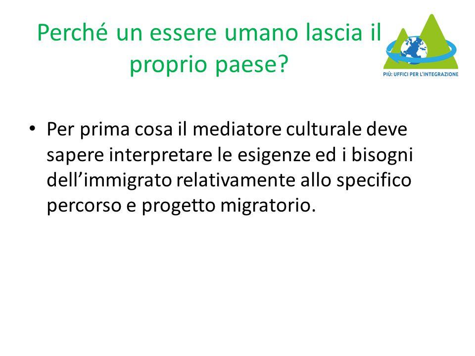 Perché un essere umano lascia il proprio paese? Per prima cosa il mediatore culturale deve sapere interpretare le esigenze ed i bisogni dell'immigrato