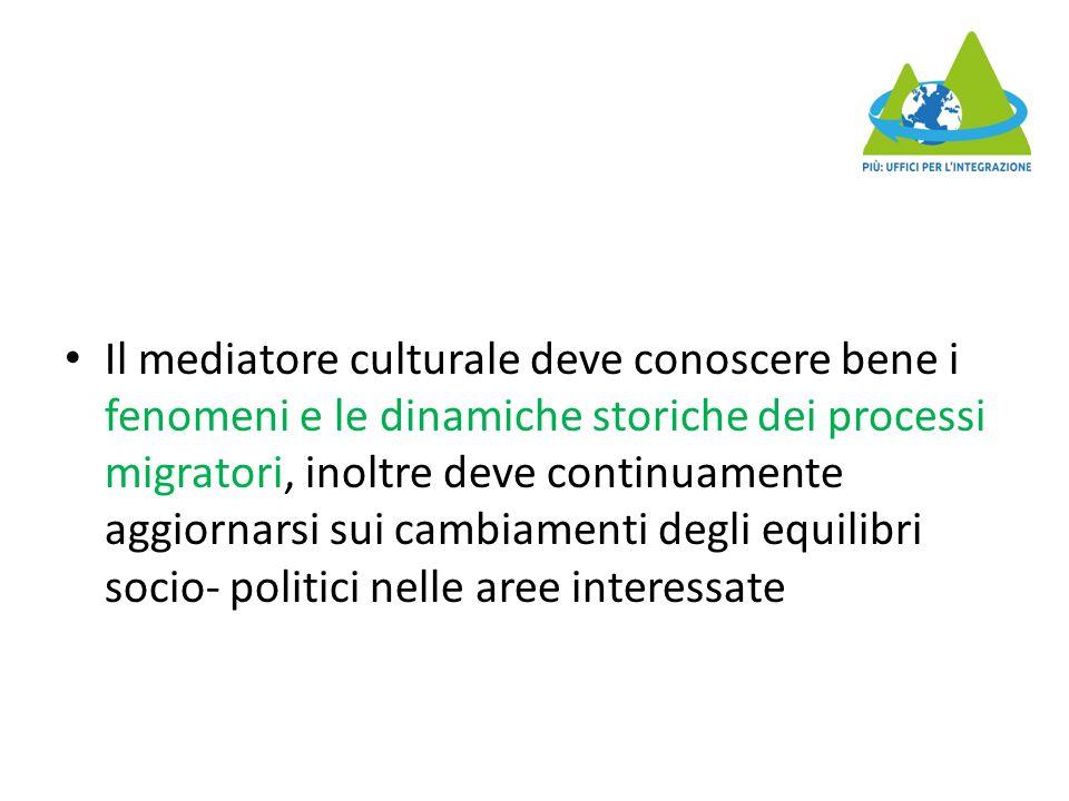 Il mediatore culturale deve conoscere bene i fenomeni e le dinamiche storiche dei processi migratori, inoltre deve continuamente aggiornarsi sui cambiamenti degli equilibri socio- politici nelle aree interessate