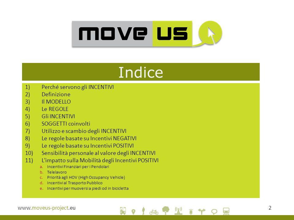 www.moveus-project.eu2 Indice 1)Perché servono gli INCENTIVI 2)Definizione 3)Il MODELLO 4)Le REGOLE 5)Gli INCENTIVI 6)SOGGETTI coinvolti 7)Utilizzo e