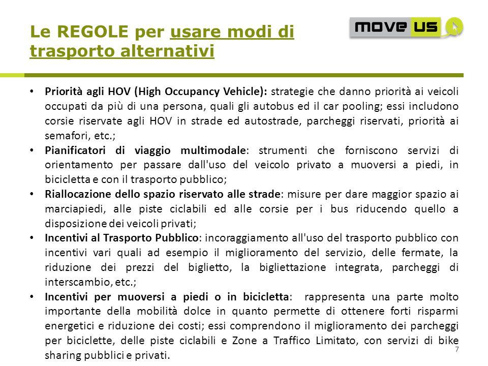 Le REGOLE per usare modi di trasporto alternativi 7 Priorità agli HOV (High Occupancy Vehicle): strategie che danno priorità ai veicoli occupati da pi