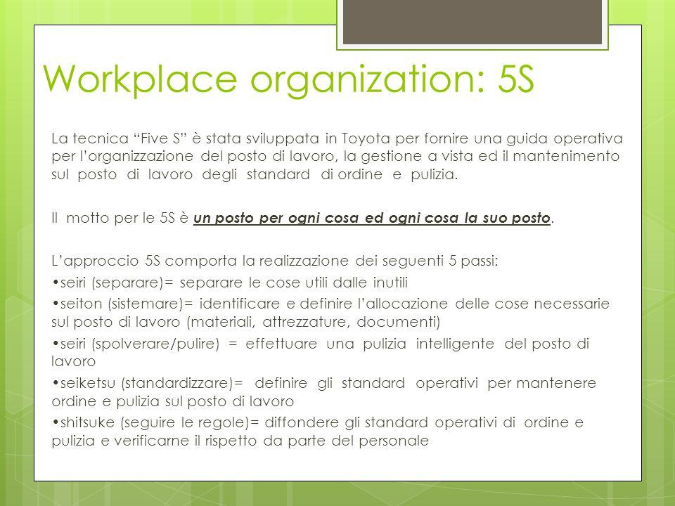 """Workplace organization: 5S La tecnica """"Five S"""" è stata sviluppata in Toyota per fornire una guida operativa per l'organizzazione del posto di lavoro,"""