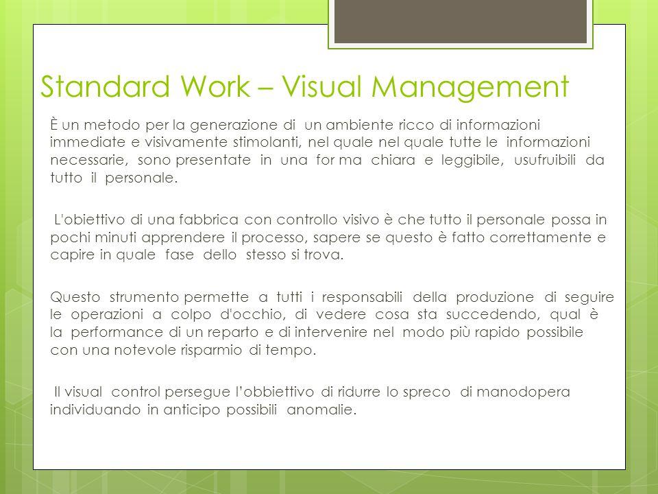 Standard Work – Visual Management È un metodo per la generazione di un ambiente ricco di informazioni immediate e visivamente stimolanti, nel quale ne