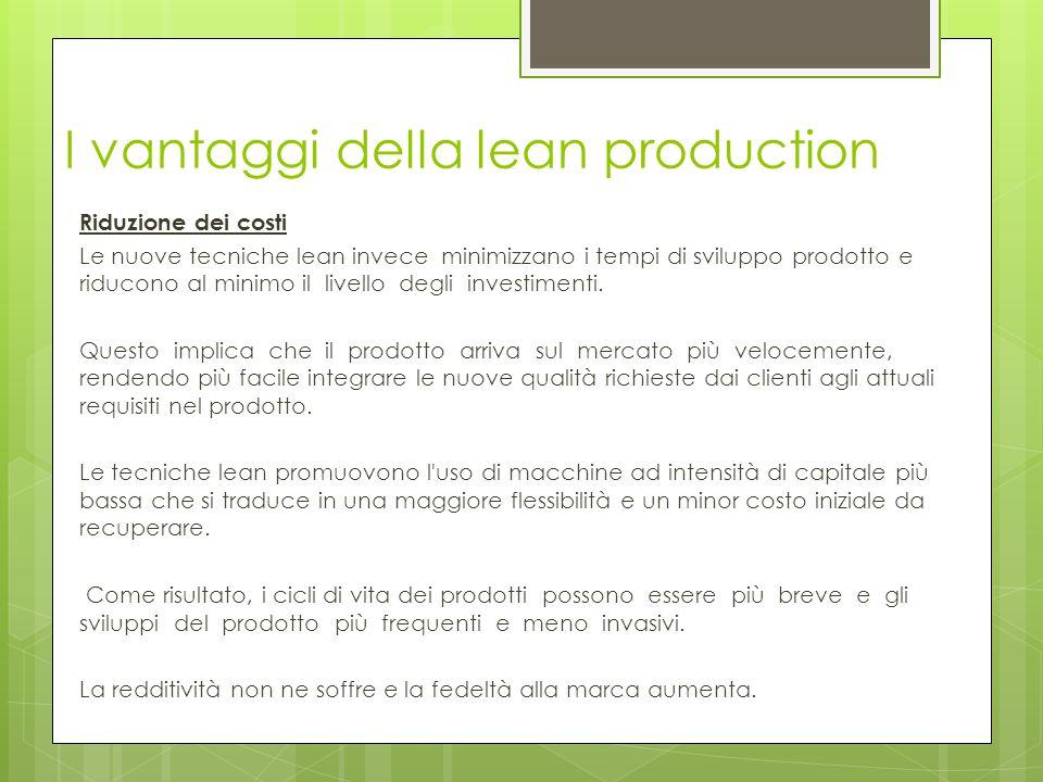 I vantaggi della lean production Riduzione dei costi Le nuove tecniche lean invece minimizzano i tempi di sviluppo prodotto e riducono al minimo il li
