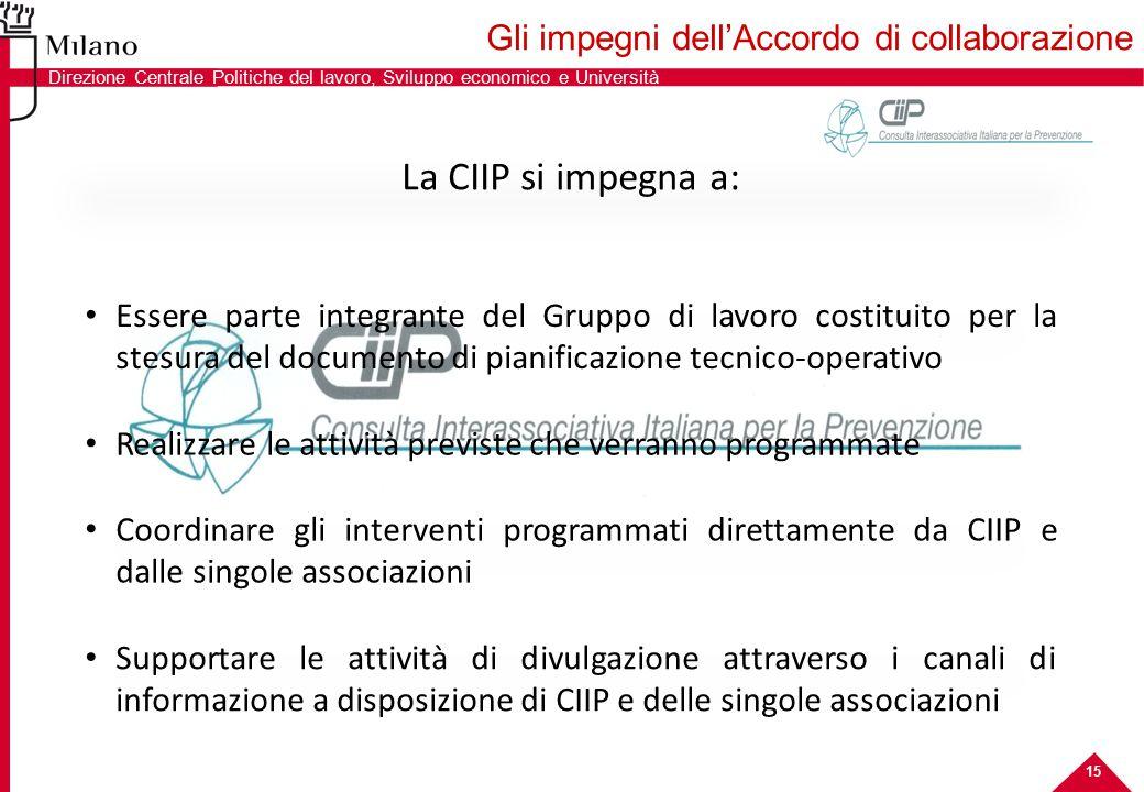 15 La CIIP si impegna a: Essere parte integrante del Gruppo di lavoro costituito per la stesura del documento di pianificazione tecnico-operativo Coor