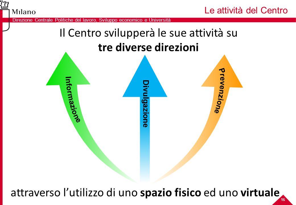 attraverso l'utilizzo di uno spazio fisico ed uno virtuale Le attività del Centro 8 Il Centro svilupperà le sue attività su tre diverse direzioni 16 D