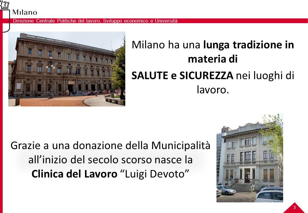 Milano ha una lunga tradizione in materia di SALUTE e SICUREZZA nei luoghi di lavoro. Grazie a una donazione della Municipalità all'inizio del secolo