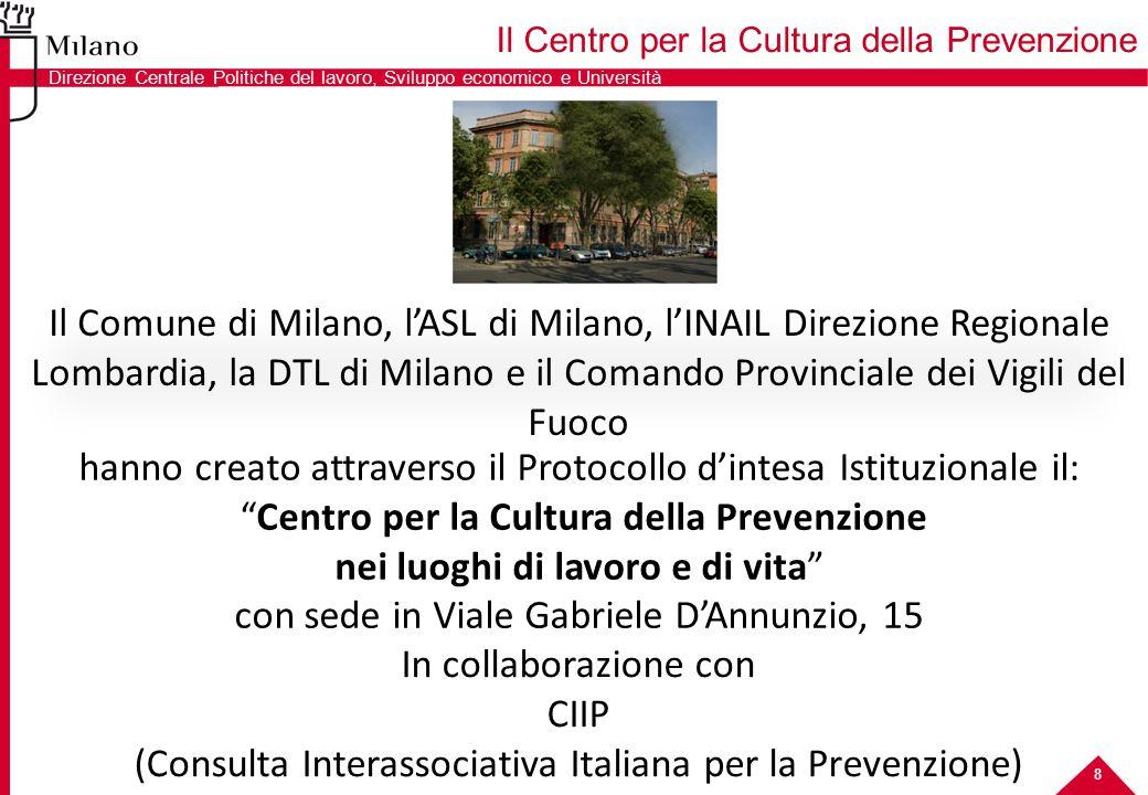 8 Il Comune di Milano, l'ASL di Milano, l'INAIL Direzione Regionale Lombardia, la DTL di Milano e il Comando Provinciale dei Vigili del Fuoco hanno cr
