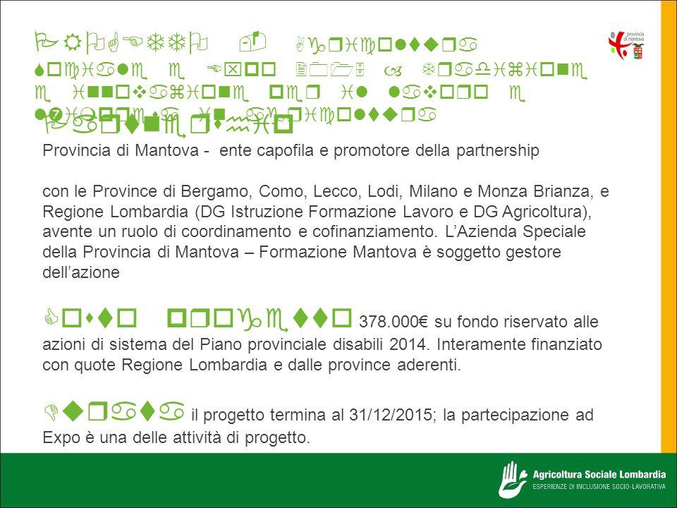  Provincia di Mantova - ente capofila e promotore della partnership con le Province di Bergamo, Como, Lecco, Lodi, Milano e Monza Brianza, e Regione Lombardia (DG Istruzione Formazione Lavoro e DG Agricoltura), avente un ruolo di coordinamento e cofinanziamento.