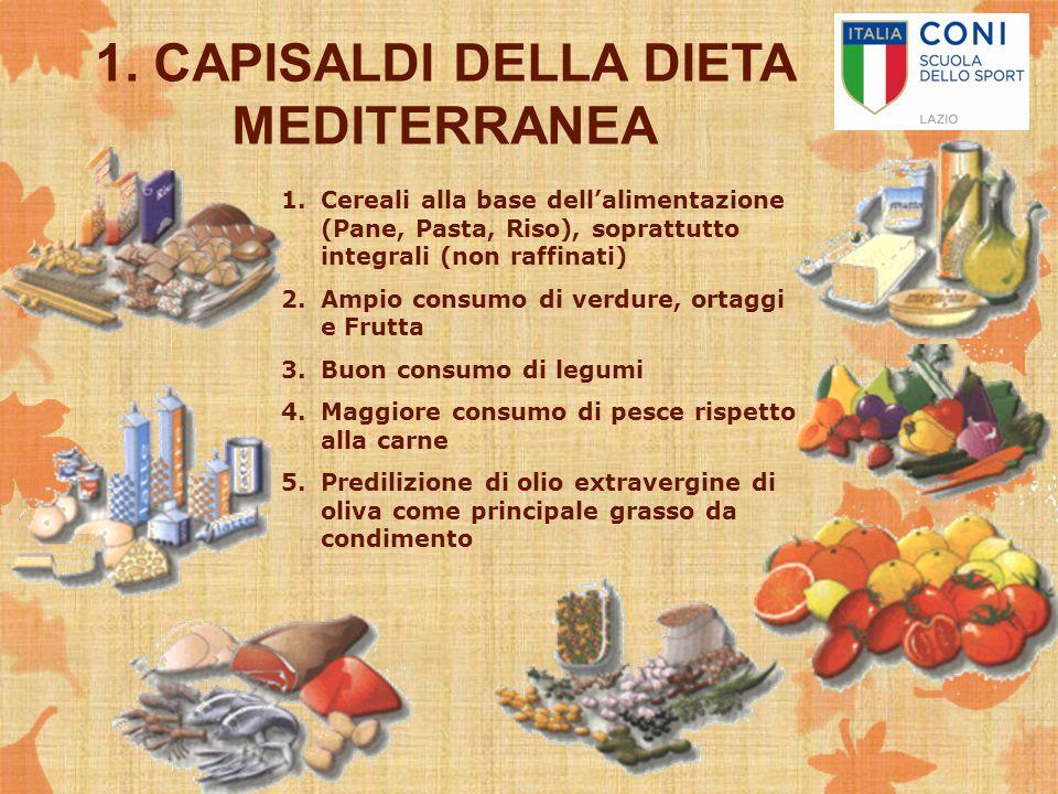1. CAPISALDI DELLA DIETA MEDITERRANEA 1.Cereali alla base dell'alimentazione (Pane, Pasta, Riso), soprattutto integrali (non raffinati) 2.Ampio consum