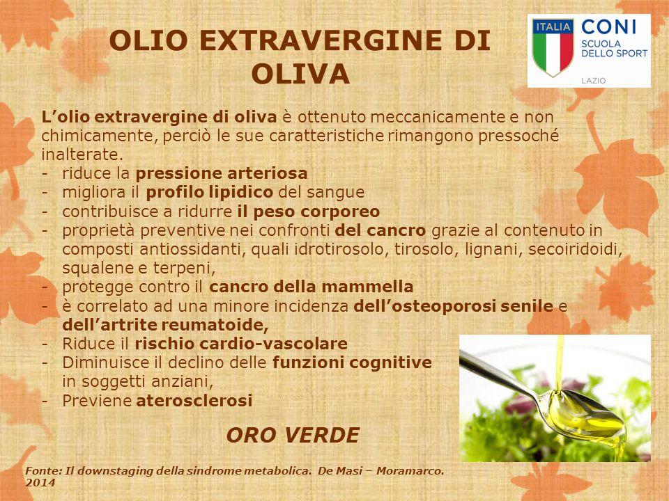OLIO EXTRAVERGINE DI OLIVA L'olio extravergine di oliva è ottenuto meccanicamente e non chimicamente, perciò le sue caratteristiche rimangono pressoch